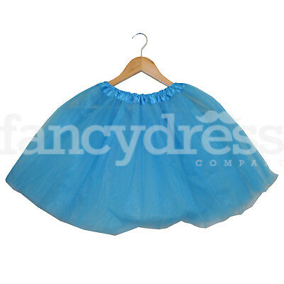Aqua Blue Ladies Girls Tutu Skirt Fancy Dress Christmas Frozen 3 Layers 17