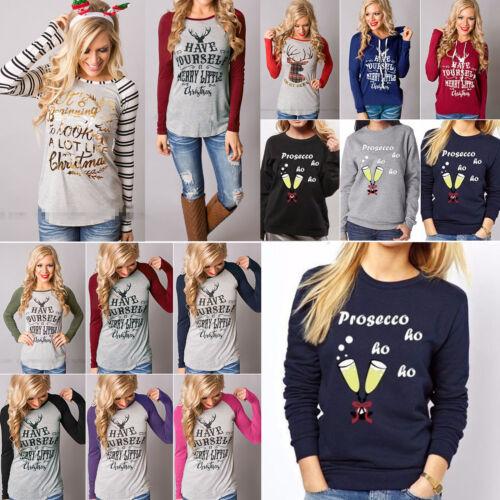 Women Ladies Long Sleeve Blouse T Shirt Hooded Sweatshirt Jumper Pullover Xmas