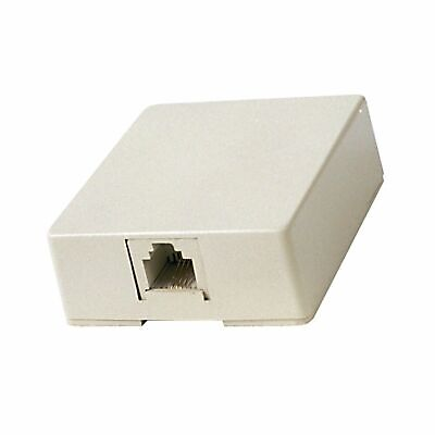 1 x RCA TP265 Modular Wall Jack, 4 Wire 1 or 2 Line Phone, Surface Mount, Ivory Surface Mount Wall Jack