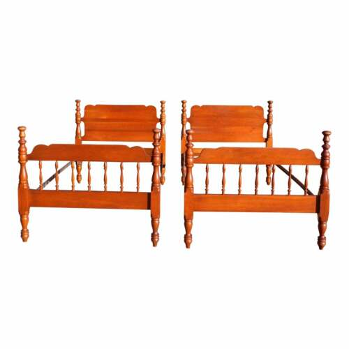 Vintage Pair Solid Cherry Tulip Poster Twin Size Beds Single Bed Frames