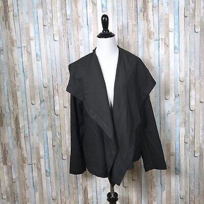 c722f364f3 Shirin Guild M Black Wool Silk Shawl Open Cascade Jacket Blazer Career  Lagenlook