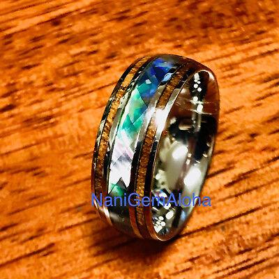 Hawaii Hawaiian Koa Wood Abalone Shell Stainless Steel Band Ring 8Mm Comfort Fit
