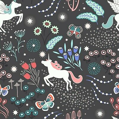By 1/2 Yard ~ Lewis & Irene Fairy Nights Glow Fabric ~ Unicorn Meadow in Black