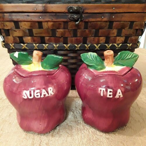 Red Apple Style Sugar Tea Ceramic Canisters Set of Two 6 Inches x 6.5 Inches