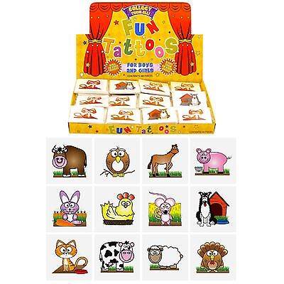 12 Farm Temporary Tattoos Childrens Kids Party Bag Fillers Choose - Farm Tattoos
