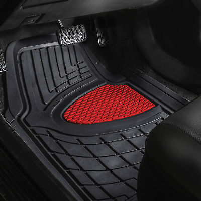 Car Floor Mats for Auto Car SUV 4pc Set All Weather Semi Custom Fit Red Black