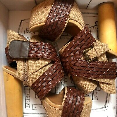 Jeffrey campbell Size 6 Platform Sandal Wedge Heels RRP$149.00 Only Worn Once