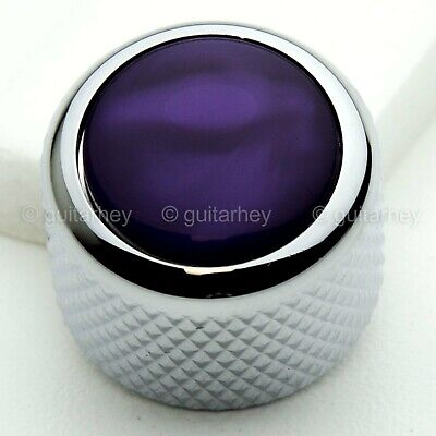 NEW (1) Q-Parts Guitar Knob CHROME with ACRYLIC PURPLE PEARL on Dome KCD-0068