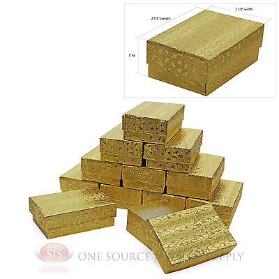 12 Jewelry Gift Boxes Gold Foil Cotton Filled 2 58 X 1 12 X1 Charm Pendant