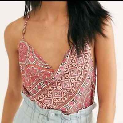 Free People Paisley Stevie Cowl Neck Top
