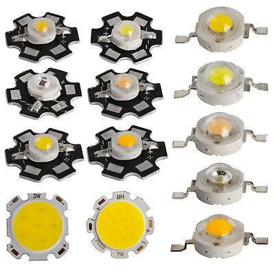 10x 50x 1w 3w 5w 7w Led Smd Cob Chip With Star Pcb High Power Beads White Light