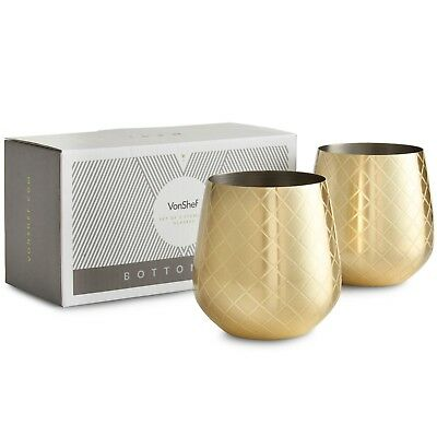 Vonshef Stemless Etched Gold Stainless Steel Wine Glass Set Of 2 With Gift Box