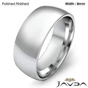 ... Light Plain Ring Men's Wedding High Polish Band 8mm Platinum 15.4gm