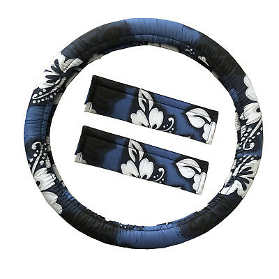 New Blue Hawaiian Hibiscus Car Truck Steering Wheel Cover Seat Belt Pads Covers