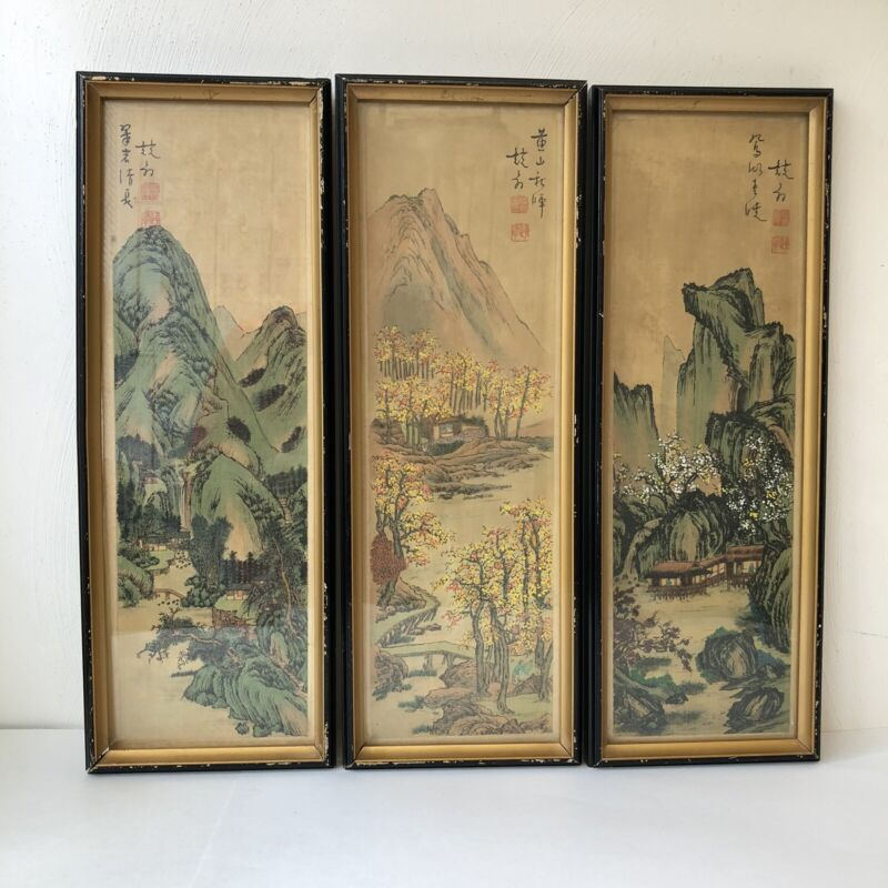 "3 antique Chinese Painting On Silk About  Mountain, Village & Landscape 18"" X 6"""