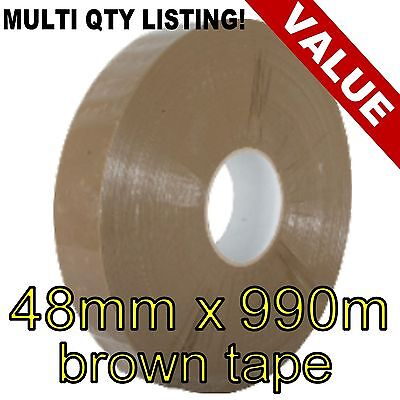 Packing parcel machine polypropylene tape rolls 48mm x 990m BROWN -