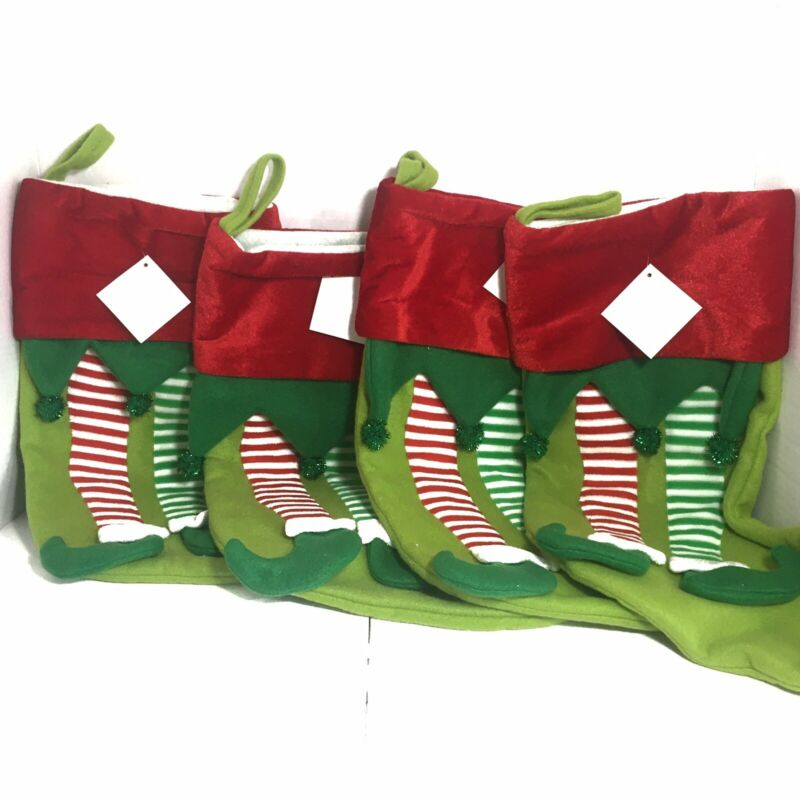 """Lot Of 4 Christmas Stockings 17"""" Green And Red Elf Feet Christmas Stocking"""
