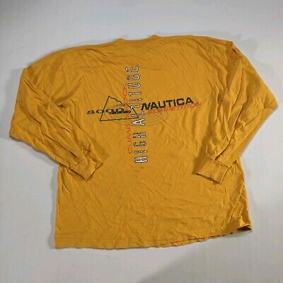 VTG 90s Nautica Competition LS graphic T Shirt Size XL/XXL Yellow High Altitude