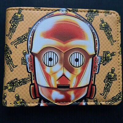 Star Wars C-3PO Gold Robot Droid Leather Slim Wallet Card Holder Gift