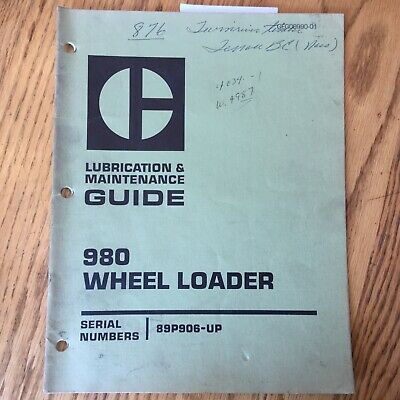 Cat Caterpillar 980 Lube Maintenance Manual Guide Wheel Loader Sn 89p906 Up