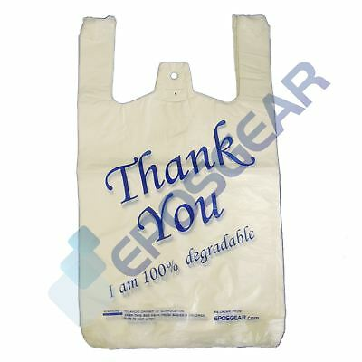 100 White Blue Large Thank You 100% Degradable Eco Plastic Vest Carrier Bags