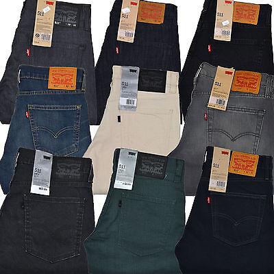 Levis 511 Mens Skinny Jeans Slim Fit Light Blue Black Denim Distressed New