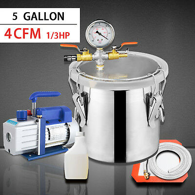 5 Gallon Vacuum Chamber 4 Cfm Single Stage Pump Degassing Silicone Kit
