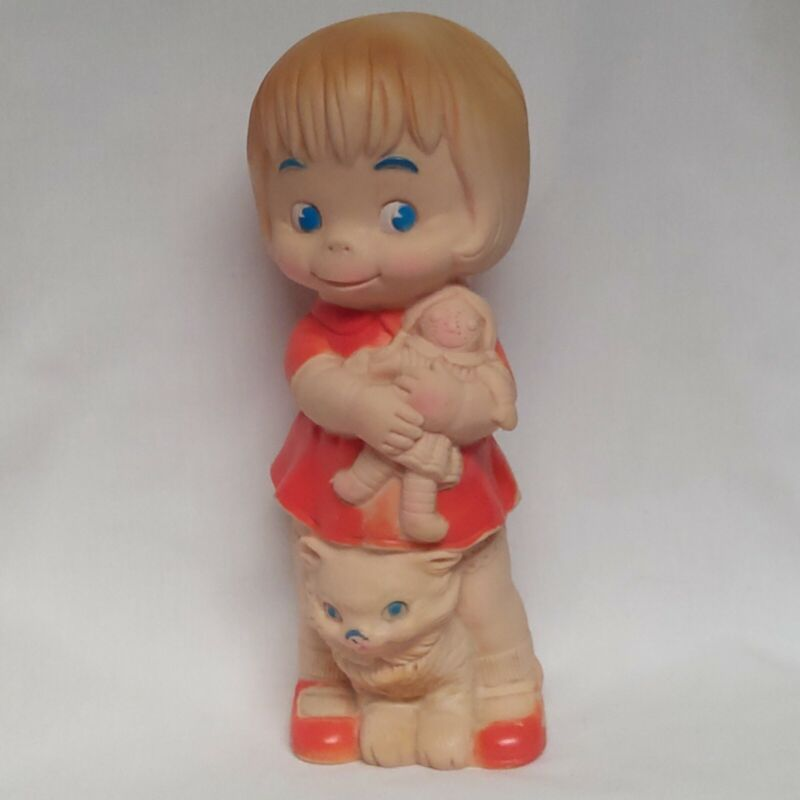 1968 J L Prescott Rubber Girl Doll with her Doll & Cat, Vintage Toy. Blue eyes.