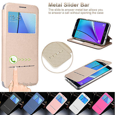 Flip Pu Leather Smart Window View Stand Case Cover For Samsung Galaxy Note 5 V