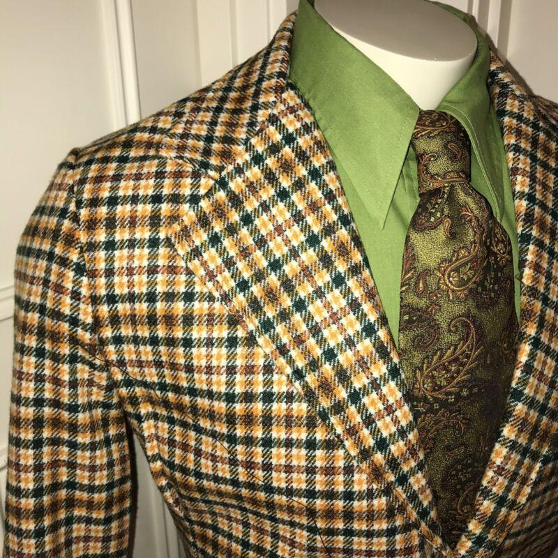 NEW Vtg 60s 70s Vanderbilt Green PLAID Mens 40 Suit Jacket Blazer Disco Coat NOS