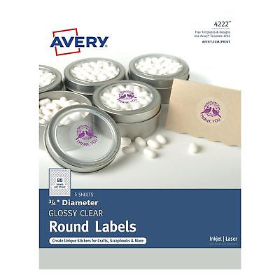 Avery Clear Glossy Print-to-the-edge Round Labels Ave-4222 Ave4222