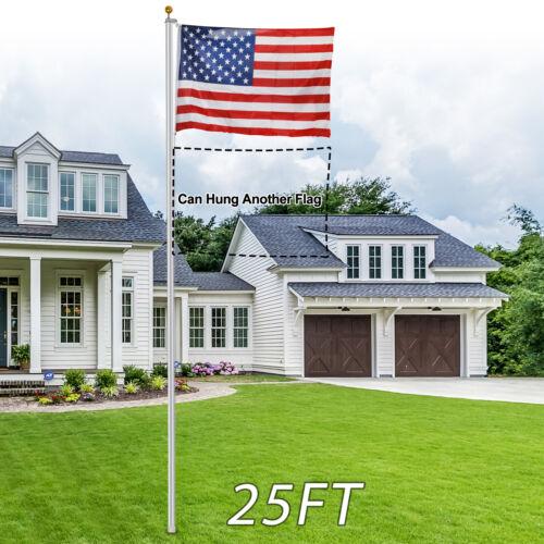 25FT Flagpole Sectional Kit Aluminum Outdoor Halyard Pole +