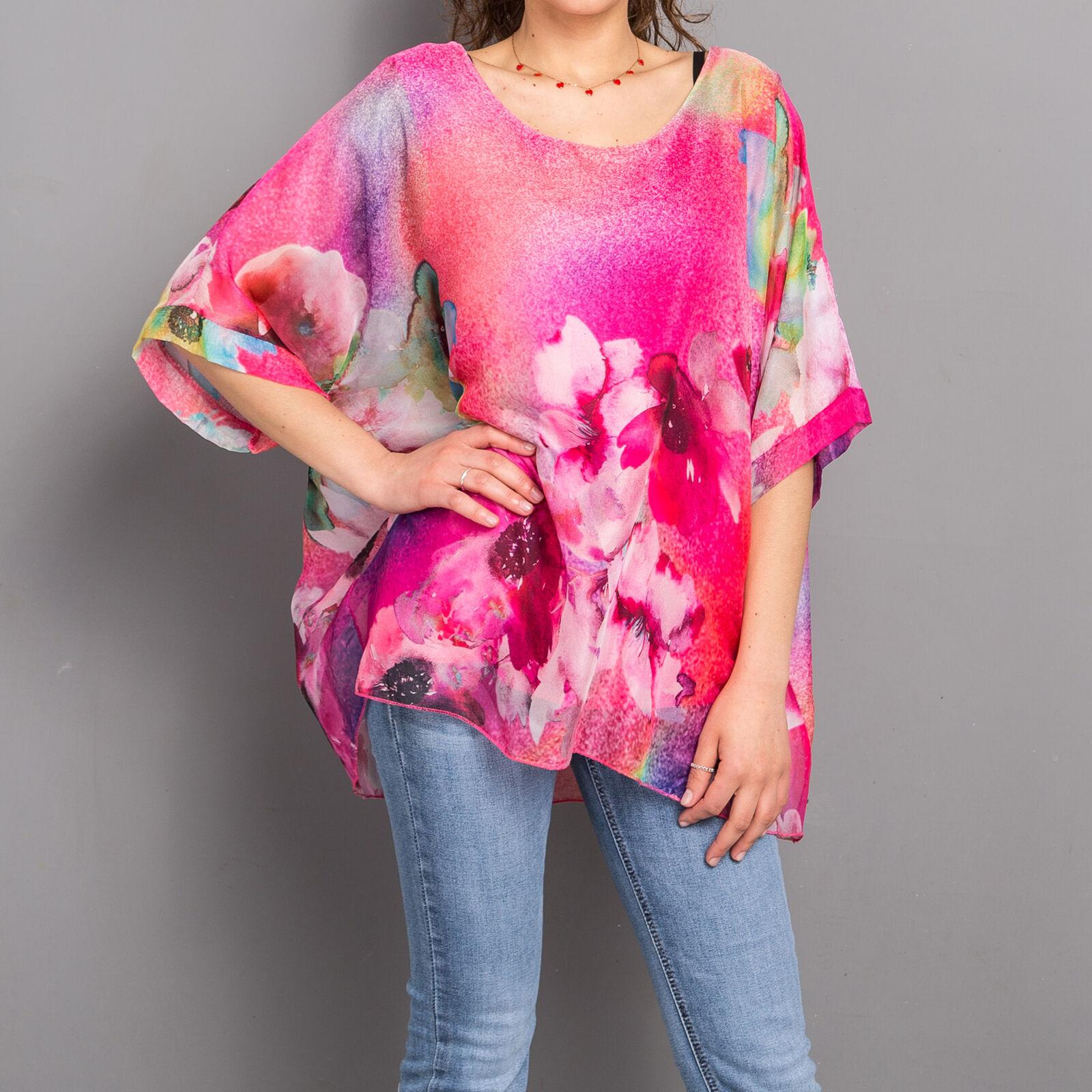 Blusa donna camicia camicetta velo trasparente fiori floreale canotta moda 95703