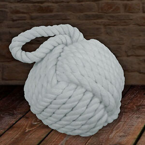 BRAND NEW Heavy Nautical Rope Knot Doorstop Door Stopper - Grey/Blue Sea Colour