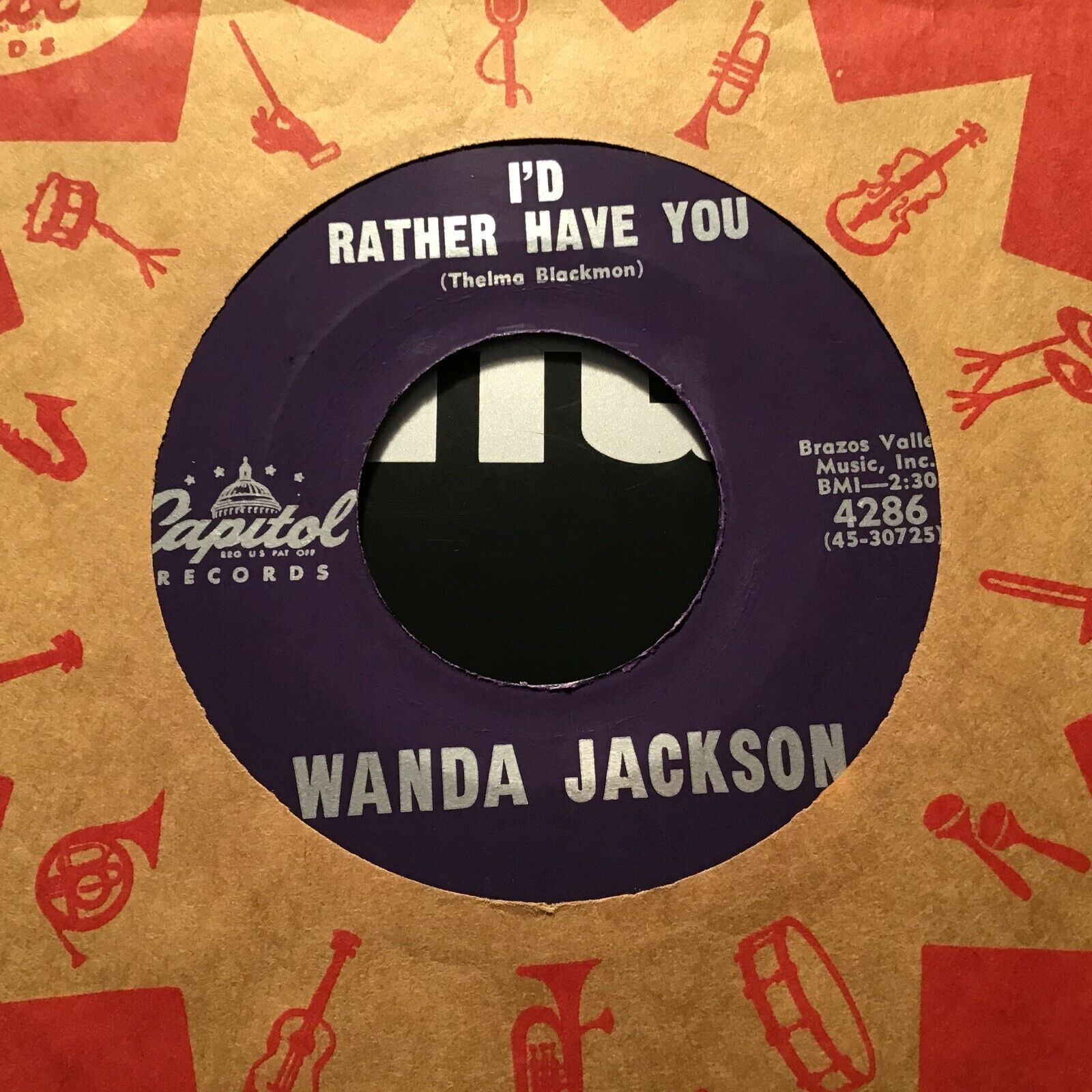 45 RPM Wanda Jackson CAPITOL 4286 I d Rather Have You / Reaching VG  - $3.00