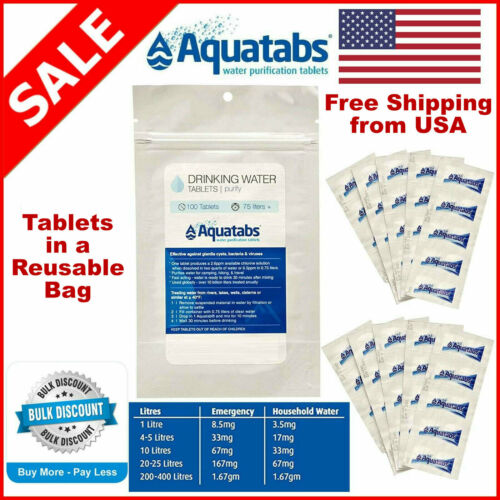 Aquatabs Water Purification Tablets 3 Pack Sizes - Expiration 05/2025