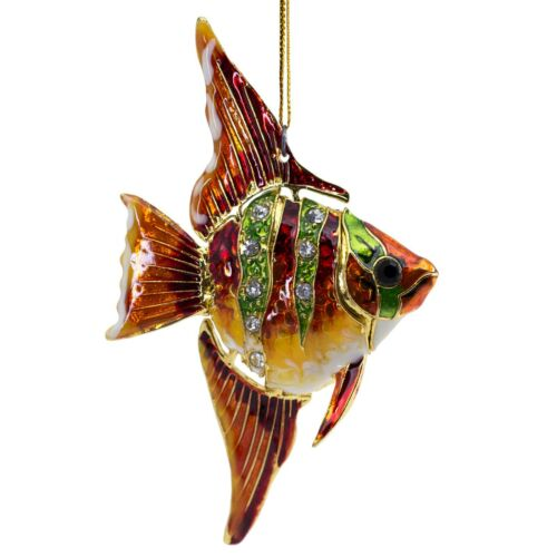 "Cloisonne Enameled Metal Articulated Angelfish Fish Ornament 4"" High Body Bends"