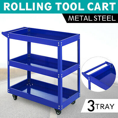 Rolling Tool Cart 3-Tray Utility Service Storage Trolley Wor