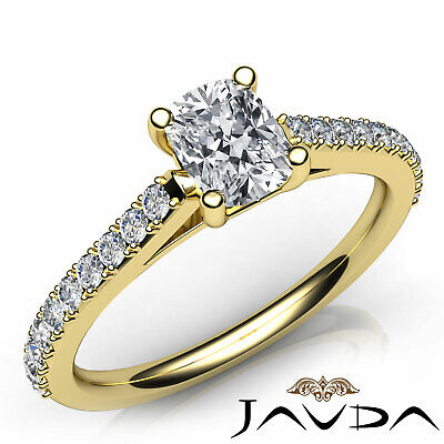 French V Pave Women's Cushion Diamond Engagement Cathedral Ring GIA G VS1 0.75Ct 7