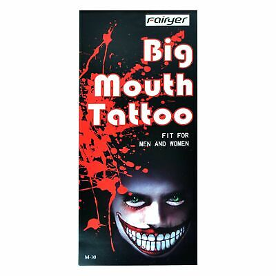 Big Mouth Halloween Costume (Big Mouth Temporary Halloween Tattoos Costume Fancy Dress Zombies Scars Make)