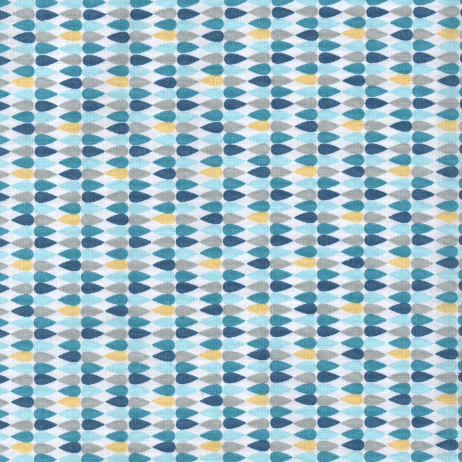 GEOMETRIC PRINTS 100/% COTTON FABRIC yellow grey Le MOTIF 2 TEAL /& AQUA BLUE