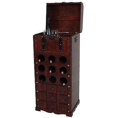 Weinregal Rhone T251, Regal Holzregal für 9 Flaschen 104x45x38 cm Kolonialstil