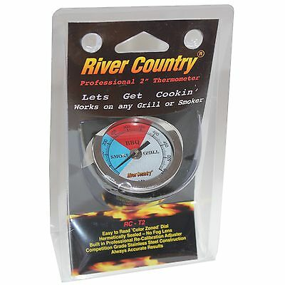 """2"""" RIVER COUNTRY BBQ CHARCOAL GAS ELECTRIC GRILL SMOKER PIT THERMOMETER 50-550"""