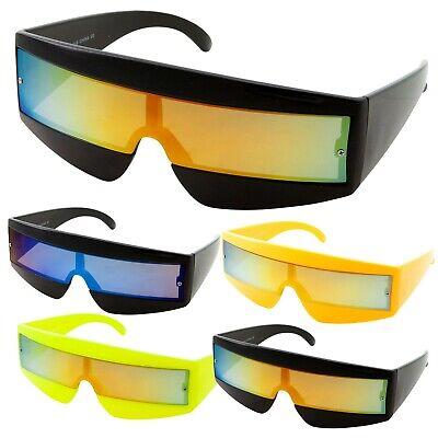 80s Mirror Wrap Around Sunglasses Robot Cyclops Lady Gaga Daft Punk Neon Glasses](80s Wrap Sunglasses)