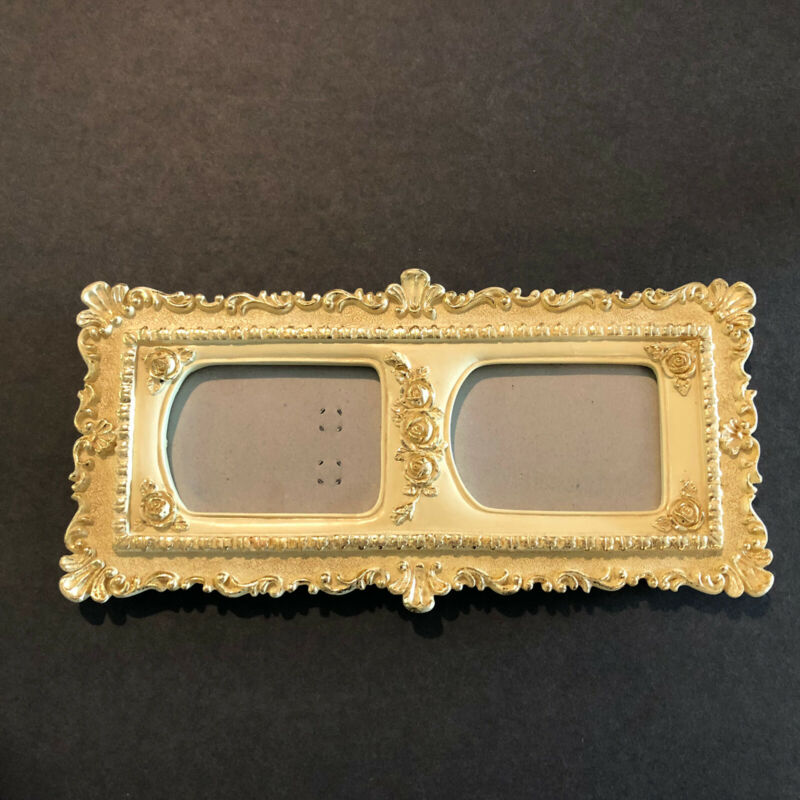 Ivory and Gold Ornate Picture Frame Hollywood Regency