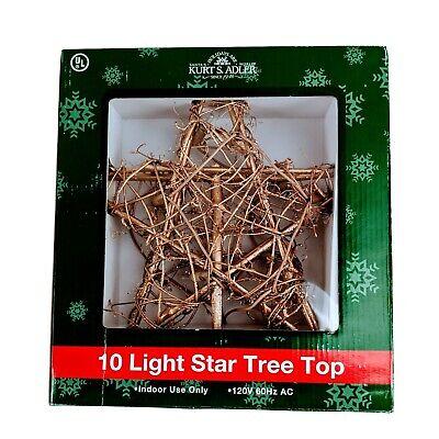 "Kurt Adler Star Tree Topper Gold Light Up Rattan Natural 10"" Country Christmas"