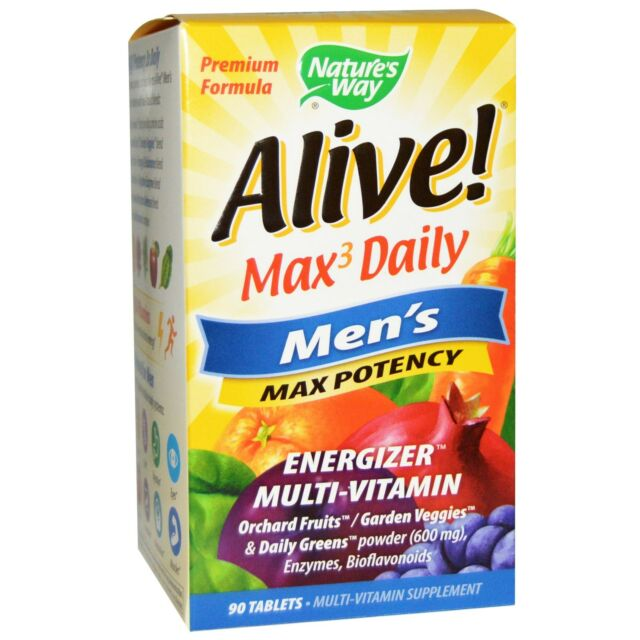 Alive! Max3 Daily Men's Max Potency Multi-Vitamin - 90 Tablets by Natures Way