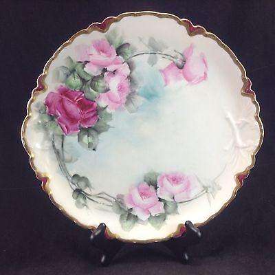 "Limoges France Hand Painted Roses 11.5"" Display Cabinet Plate Flowers Vintage"