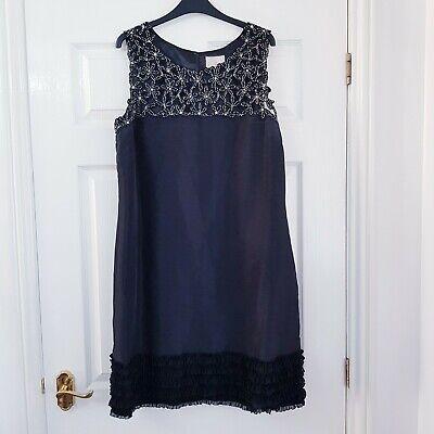 Jenny Packham No 1 Black Beaded Ruffle Trim Dress Size 18 Cruise Party Evening