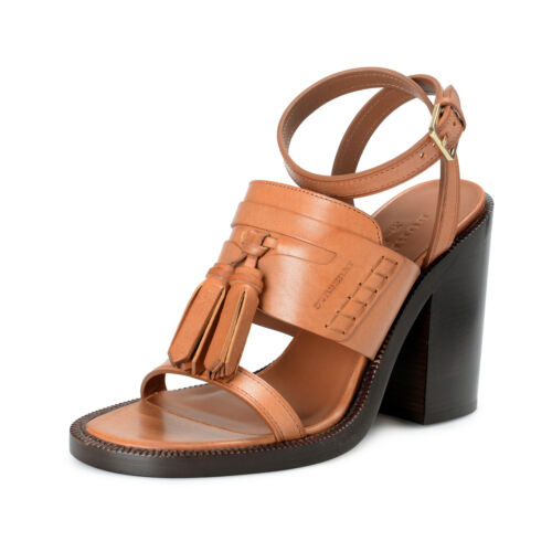 BURBERRY London Womens BETHANY Brown Leather Ankle Strap Heeled Sandals Shoes